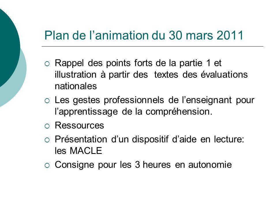 Plan de lanimation du 30 mars 2011 Rappel des points forts de la partie 1 et illustration à partir des textes des évaluations nationales Les gestes pr