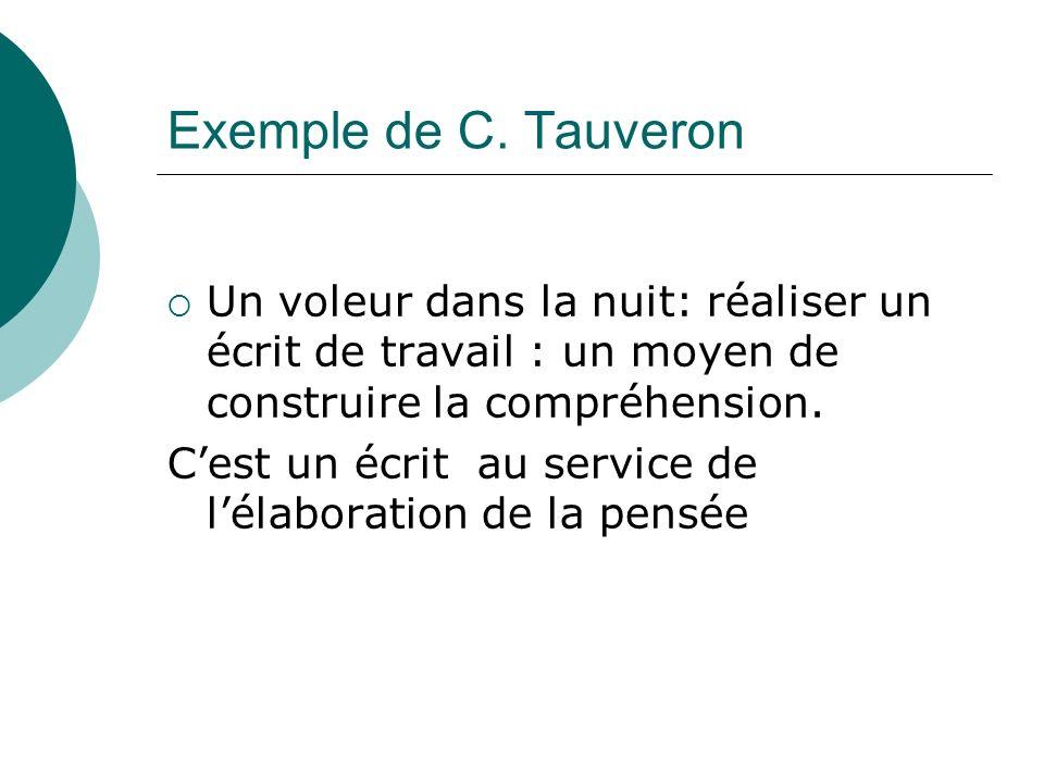 Exemple de C. Tauveron Un voleur dans la nuit: réaliser un écrit de travail : un moyen de construire la compréhension. Cest un écrit au service de lél