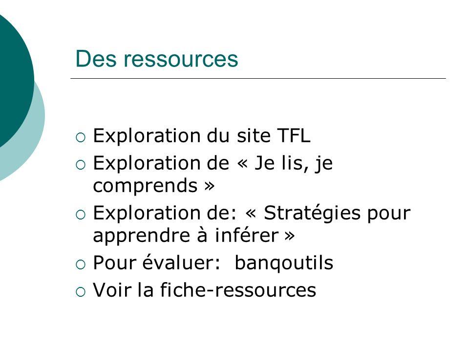 Des ressources Exploration du site TFL Exploration de « Je lis, je comprends » Exploration de: « Stratégies pour apprendre à inférer » Pour évaluer: b