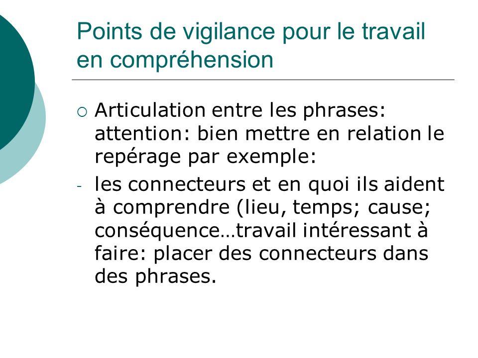 Points de vigilance pour le travail en compréhension Articulation entre les phrases: attention: bien mettre en relation le repérage par exemple: - les