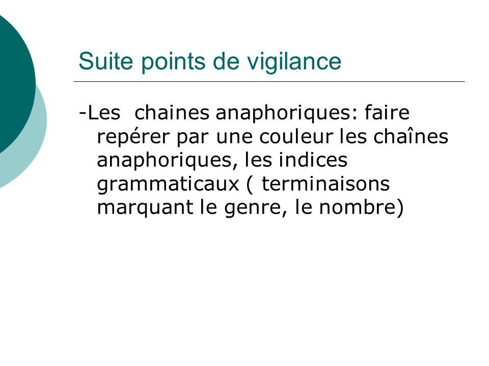 Suite points de vigilance -Les chaines anaphoriques: faire repérer par une couleur les chaînes anaphoriques, les indices grammaticaux ( terminaisons m