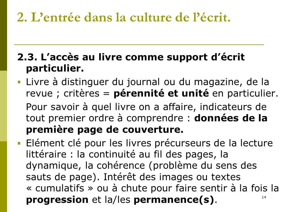 14 2. Lentrée dans la culture de lécrit. 2.3. Laccès au livre comme support décrit particulier. Livre à distinguer du journal ou du magazine, de la re