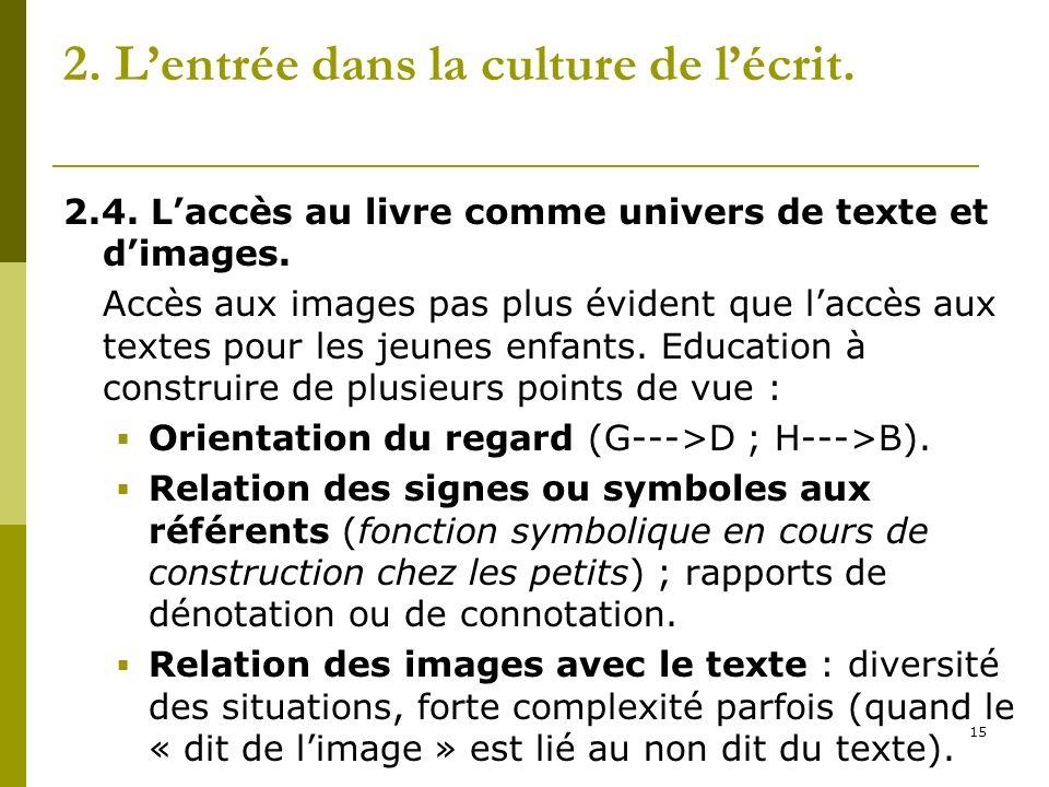 15 2. Lentrée dans la culture de lécrit. 2.4. Laccès au livre comme univers de texte et dimages. Accès aux images pas plus évident que laccès aux text