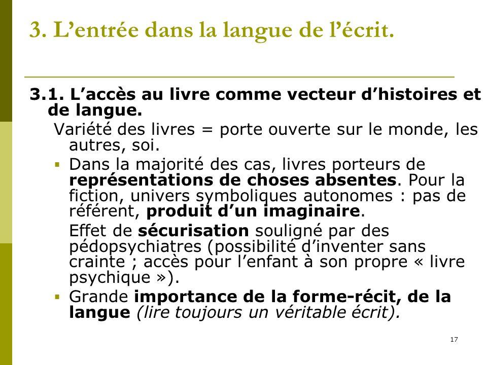 17 3. Lentrée dans la langue de lécrit. 3.1. Laccès au livre comme vecteur dhistoires et de langue. Variété des livres = porte ouverte sur le monde, l