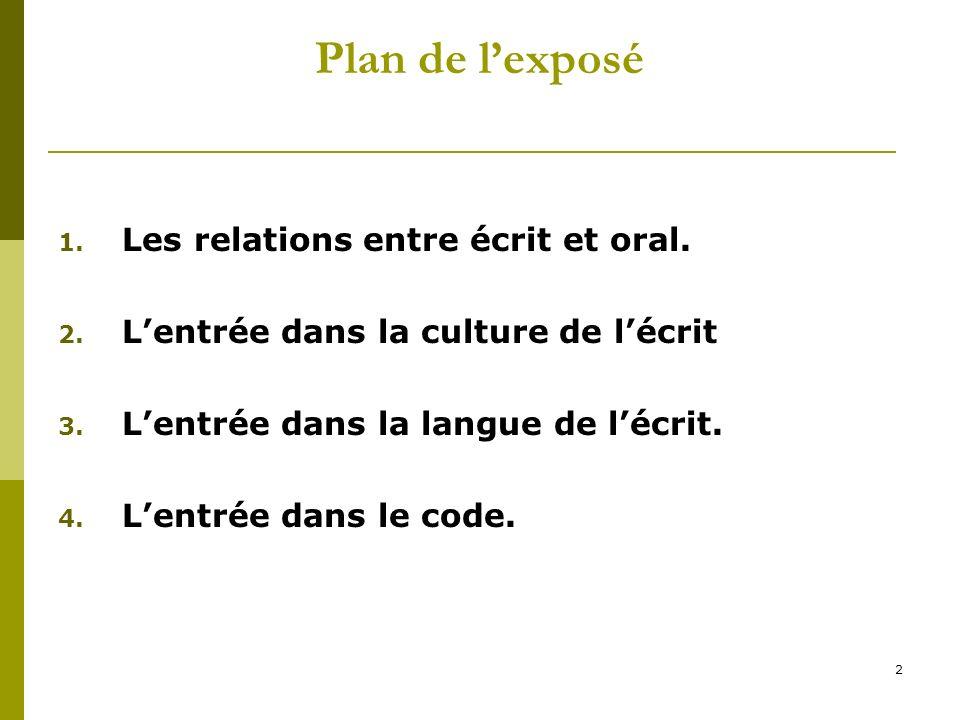 2 Plan de lexposé 1. Les relations entre écrit et oral. 2. Lentrée dans la culture de lécrit 3. Lentrée dans la langue de lécrit. 4. Lentrée dans le c