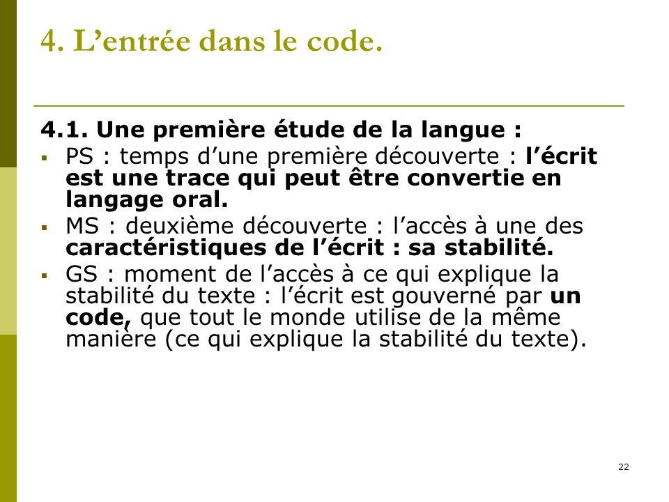 22 4. Lentrée dans le code. 4.1. Une première étude de la langue : PS : temps dune première découverte : lécrit est une trace qui peut être convertie