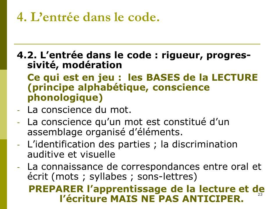 23 4. Lentrée dans le code. 4.2. Lentrée dans le code : rigueur, progres- sivité, modération Ce qui est en jeu : les BASES de la LECTURE (principe alp