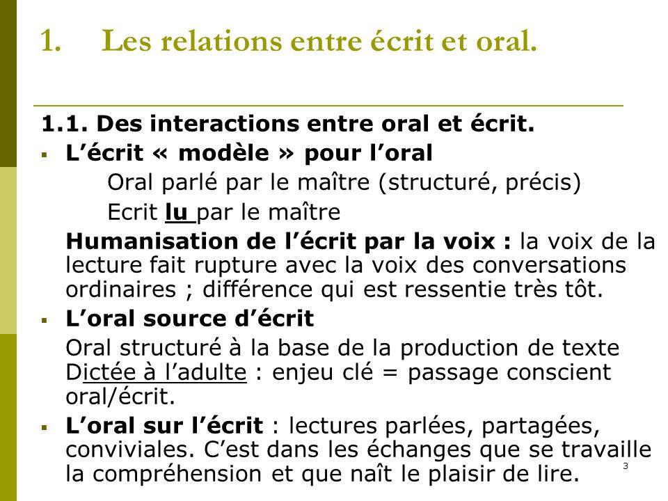 3 1.Les relations entre écrit et oral. 1.1. Des interactions entre oral et écrit. Lécrit « modèle » pour loral Oral parlé par le maître (structuré, pr