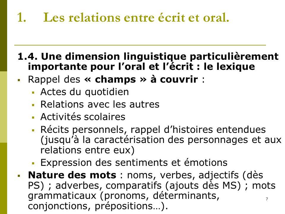 7 1.Les relations entre écrit et oral. 1.4. Une dimension linguistique particulièrement importante pour loral et lécrit : le lexique Rappel des « cham
