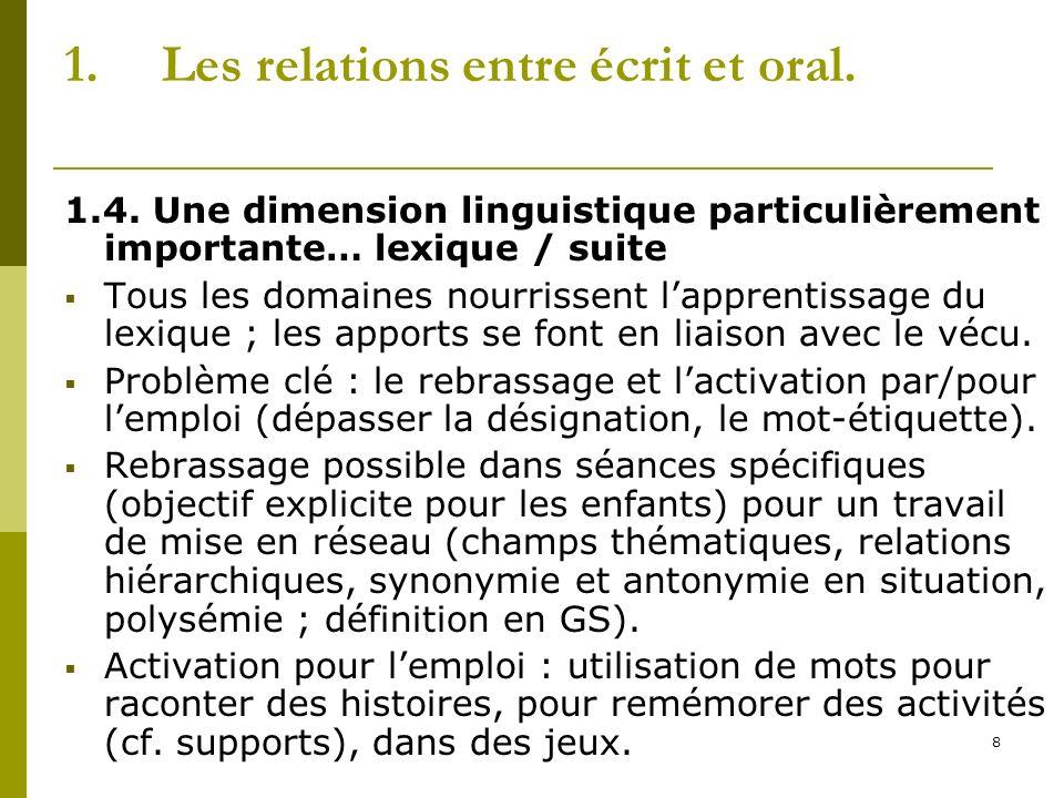 8 1.Les relations entre écrit et oral. 1.4. Une dimension linguistique particulièrement importante… lexique / suite Tous les domaines nourrissent lapp