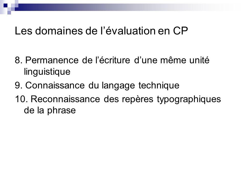 Les domaines de lévaluation en CP Rubrique 3 : connaissance des fonctions des écrits 11.