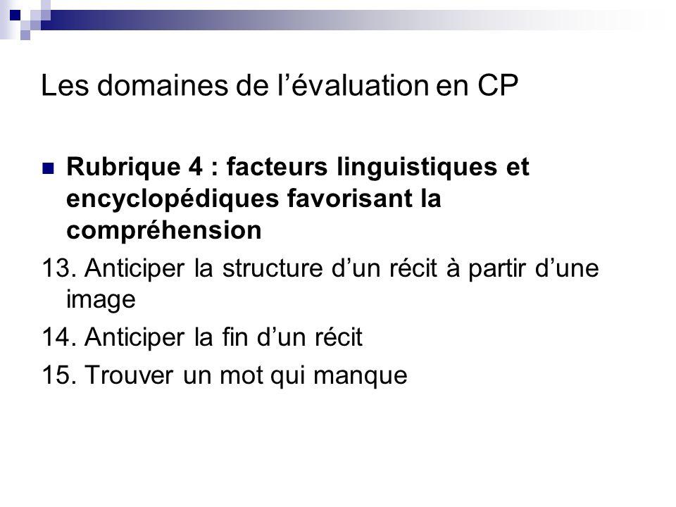 Les domaines de lévaluation en CP Rubrique 5 : comportement dapprenti- lecteur 16.