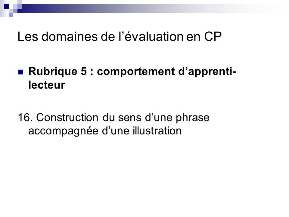 Les domaines de lévaluation en CP Rubrique 6 : facteurs de développement des capacités didentification 17.