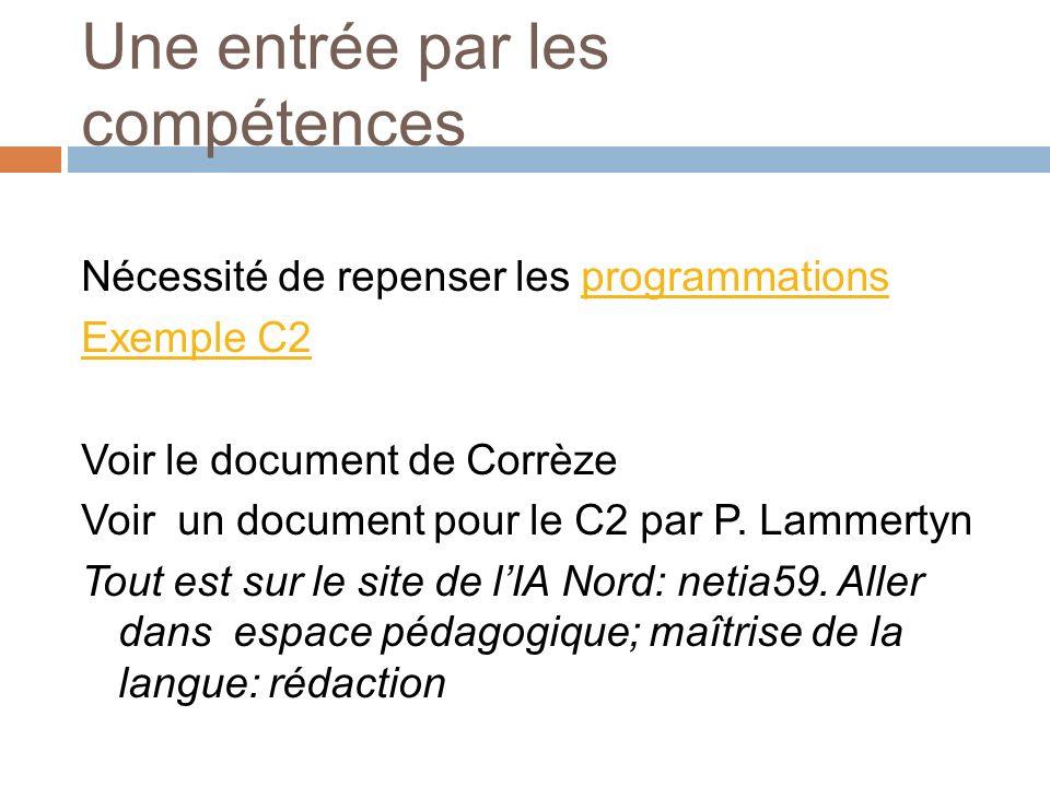Une entrée par les compétences Nécessité de repenser les programmationsprogrammations Exemple C2 Voir le document de Corrèze Voir un document pour le