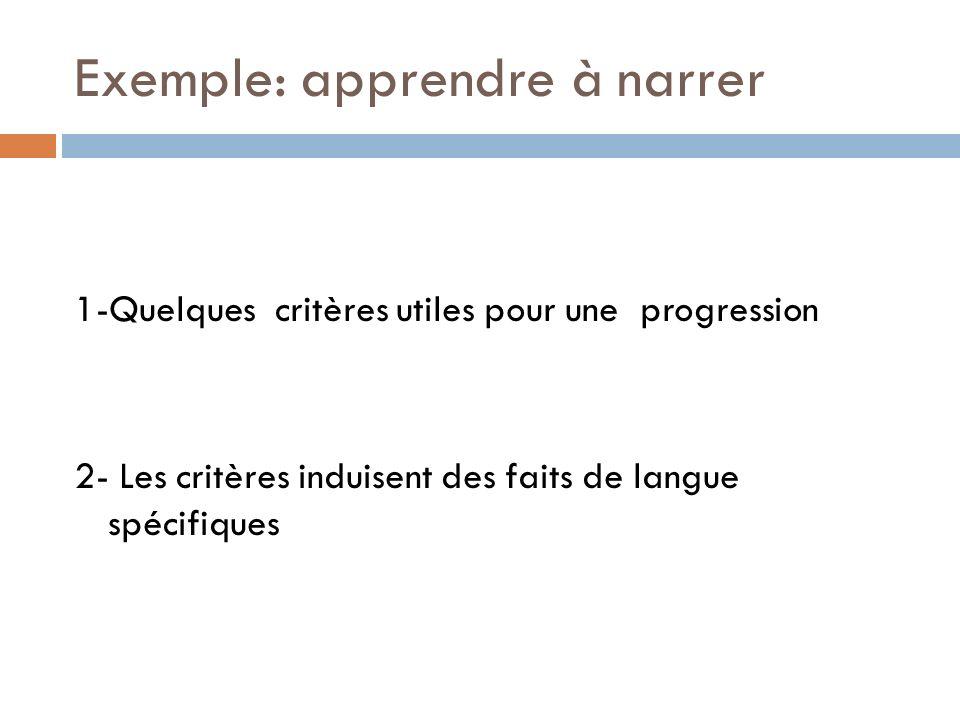 Exemple: apprendre à narrer 1-Quelques critères utiles pour une progression 2- Les critères induisent des faits de langue spécifiques