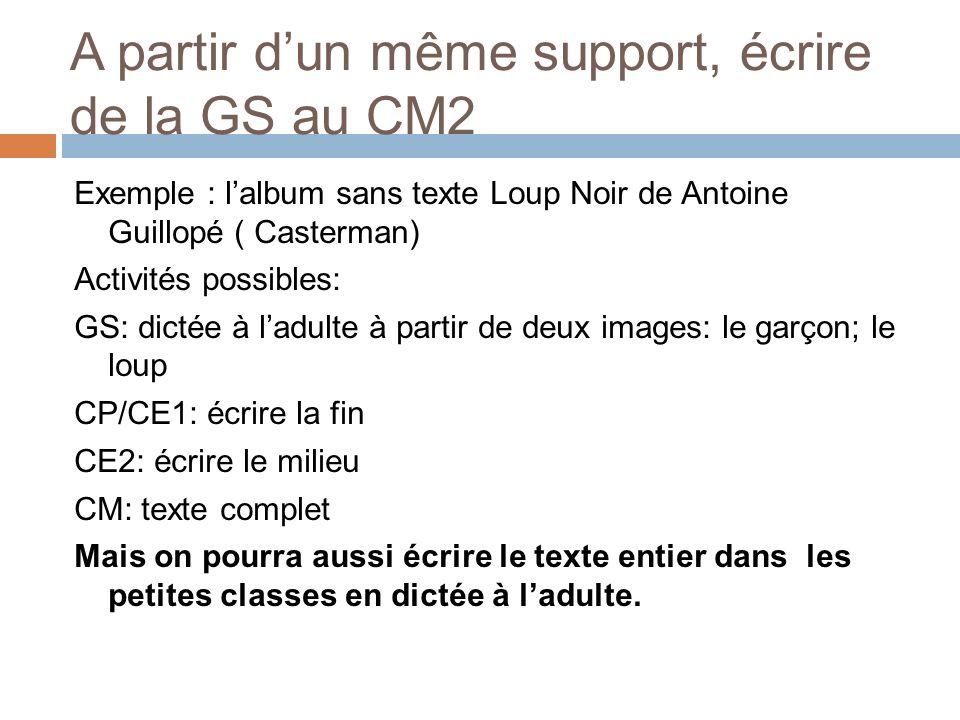 A partir dun même support, écrire de la GS au CM2 Exemple : lalbum sans texte Loup Noir de Antoine Guillopé ( Casterman) Activités possibles: GS: dict