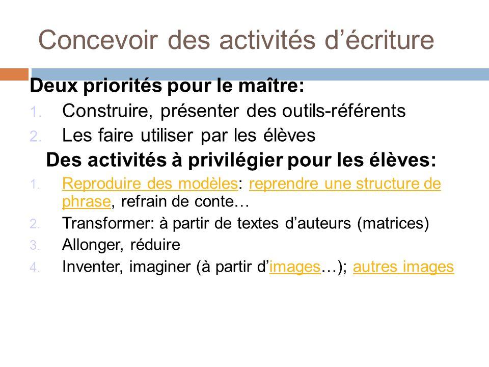 Concevoir des activités décriture Deux priorités pour le maître: 1. Construire, présenter des outils-référents 2. Les faire utiliser par les élèves De