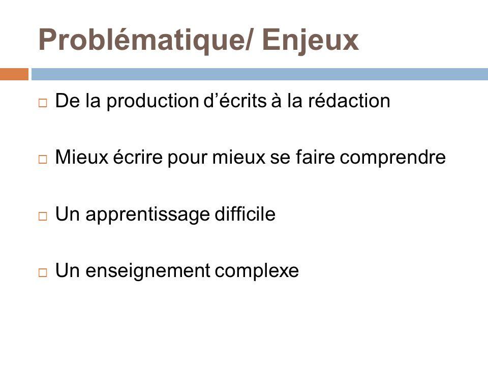 Problématique/ Enjeux De la production décrits à la rédaction Mieux écrire pour mieux se faire comprendre Un apprentissage difficile Un enseignement c