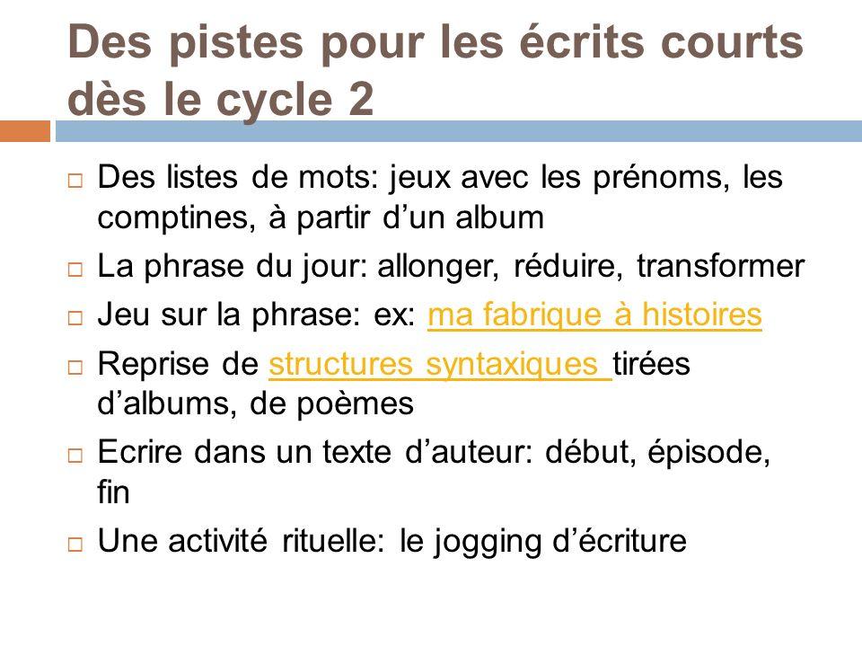 Des pistes pour les écrits courts dès le cycle 2 Des listes de mots: jeux avec les prénoms, les comptines, à partir dun album La phrase du jour: allon