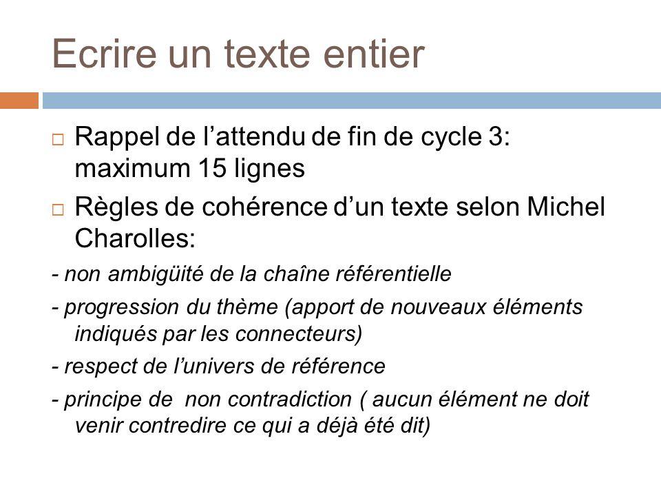 Ecrire un texte entier Rappel de lattendu de fin de cycle 3: maximum 15 lignes Règles de cohérence dun texte selon Michel Charolles: - non ambigüité d