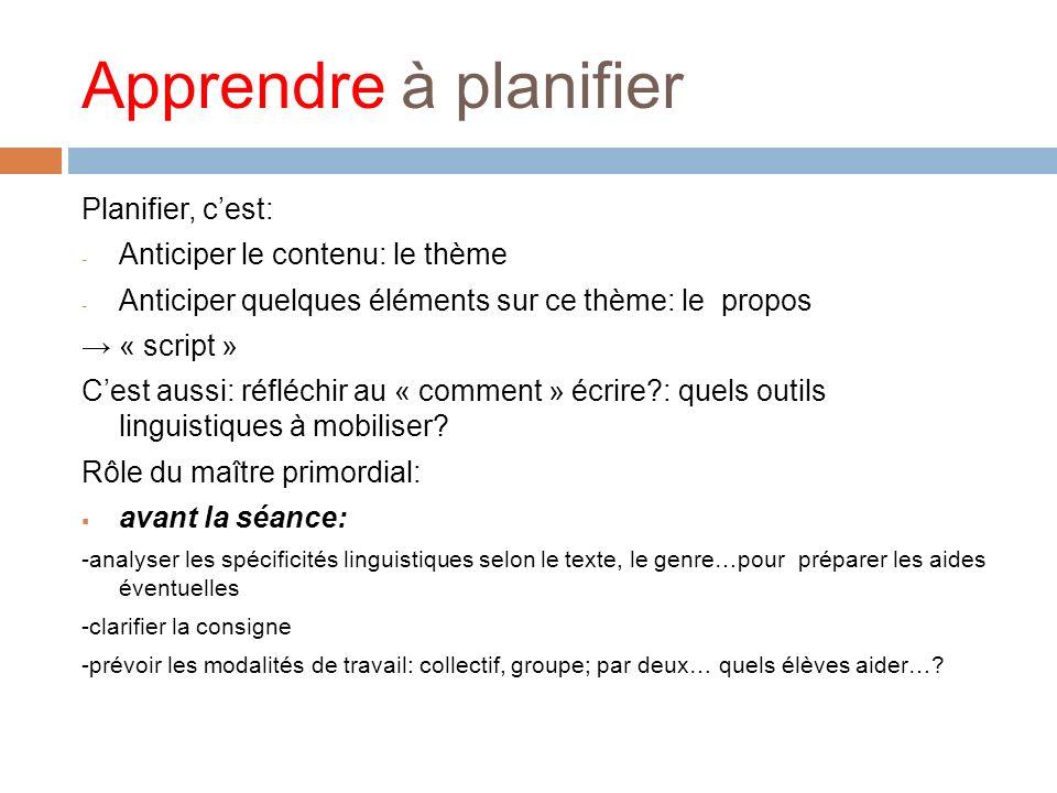 Apprendre à planifier Planifier, cest: - Anticiper le contenu: le thème - Anticiper quelques éléments sur ce thème: le propos « script » Cest aussi: r