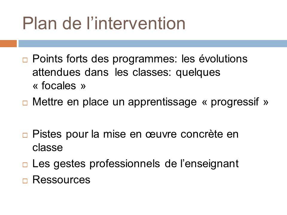 Plan de lintervention Points forts des programmes: les évolutions attendues dans les classes: quelques « focales » Mettre en place un apprentissage «