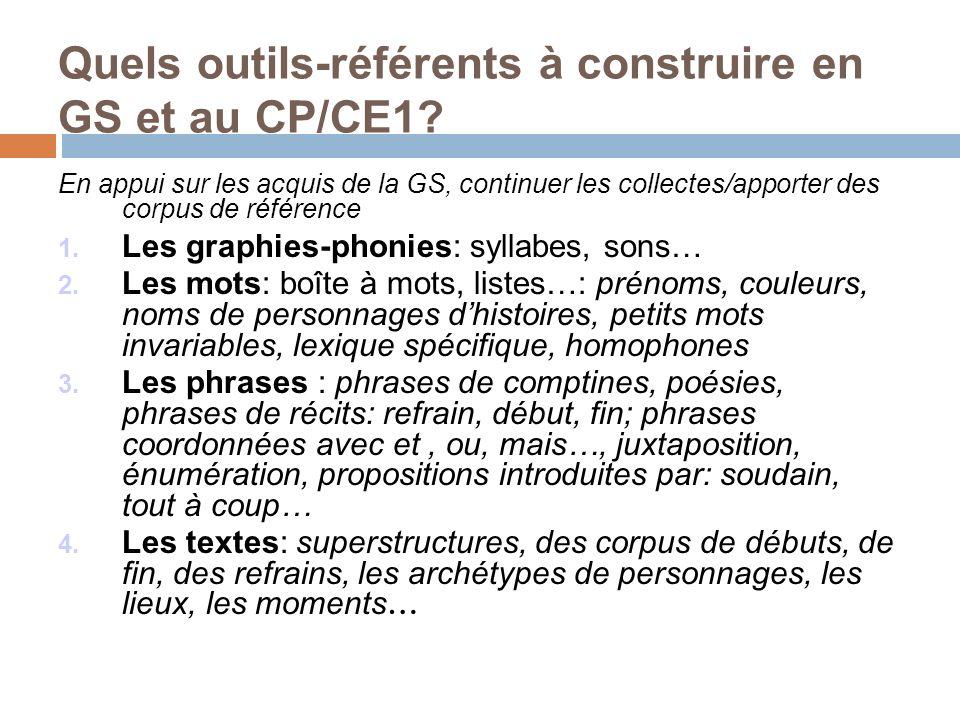 Quels outils-référents à construire en GS et au CP/CE1? En appui sur les acquis de la GS, continuer les collectes/apporter des corpus de référence 1.