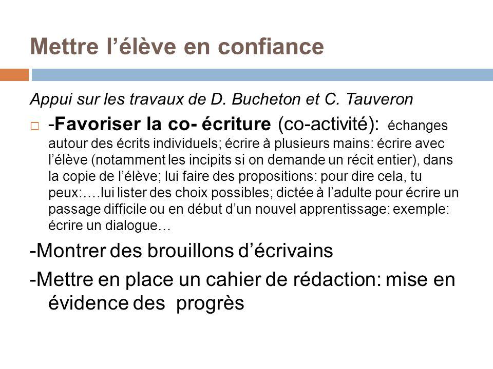 Mettre lélève en confiance Appui sur les travaux de D. Bucheton et C. Tauveron -Favoriser la co- écriture (co-activité): échanges autour des écrits in