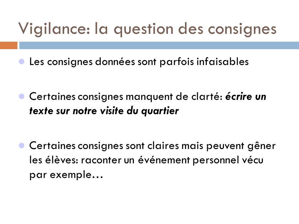 Vigilance: la question des consignes Les consignes données sont parfois infaisables Certaines consignes manquent de clarté: écrire un texte sur notre