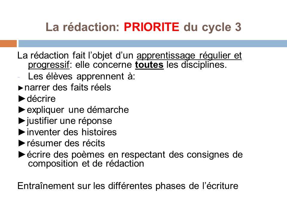 La rédaction: PRIORITE du cycle 3 La rédaction fait lobjet dun apprentissage régulier et progressif: elle concerne toutes les disciplines. - Les élève