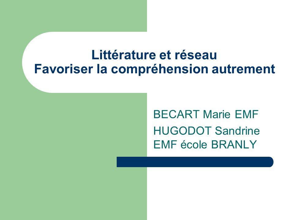 Littérature et réseau Favoriser la compréhension autrement BECART Marie EMF HUGODOT Sandrine EMF école BRANLY