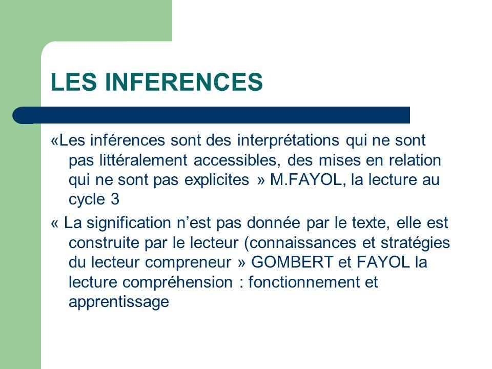 LES INFERENCES «Les inférences sont des interprétations qui ne sont pas littéralement accessibles, des mises en relation qui ne sont pas explicites »