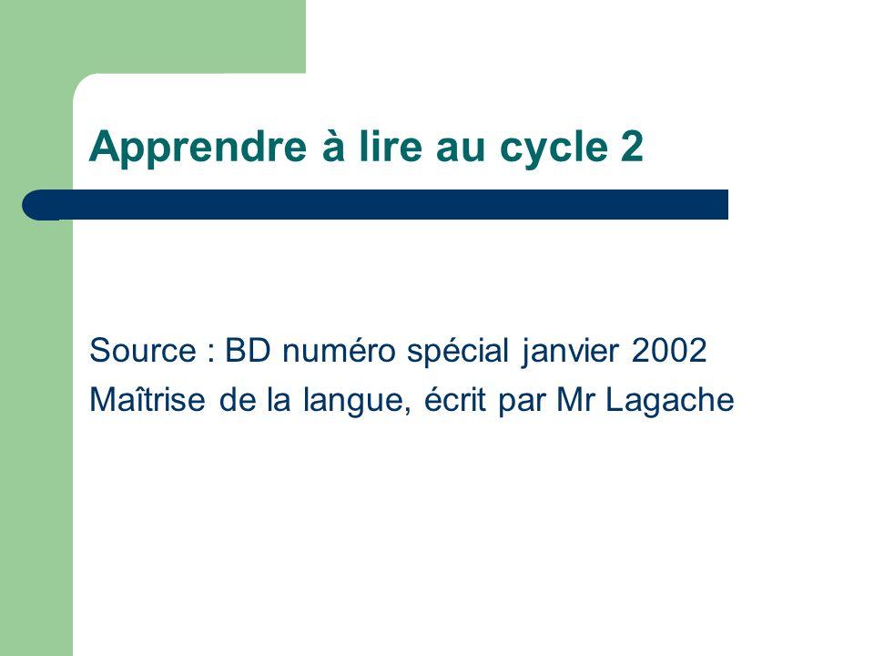 Apprendre à lire au cycle 2 Source : BD numéro spécial janvier 2002 Maîtrise de la langue, écrit par Mr Lagache