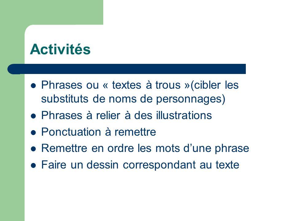 Activités Phrases ou « textes à trous »(cibler les substituts de noms de personnages) Phrases à relier à des illustrations Ponctuation à remettre Reme
