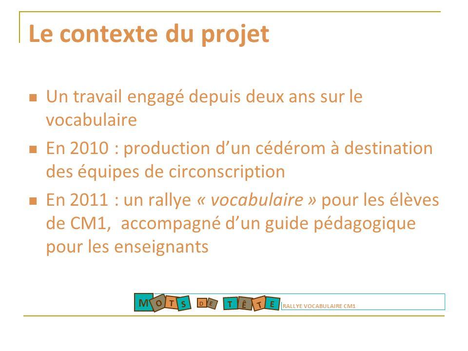 Le contexte du projet Un travail engagé depuis deux ans sur le vocabulaire En 2010 : production dun cédérom à destination des équipes de circonscripti