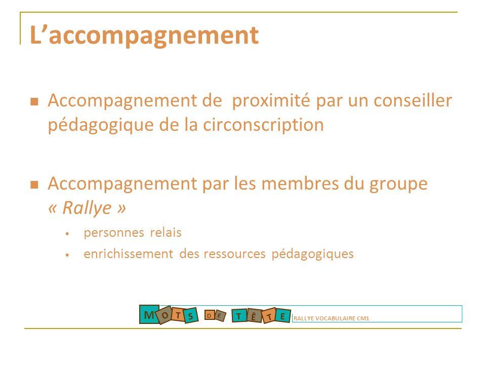 Laccompagnement Accompagnement de proximité par un conseiller pédagogique de la circonscription Accompagnement par les membres du groupe « Rallye » pe