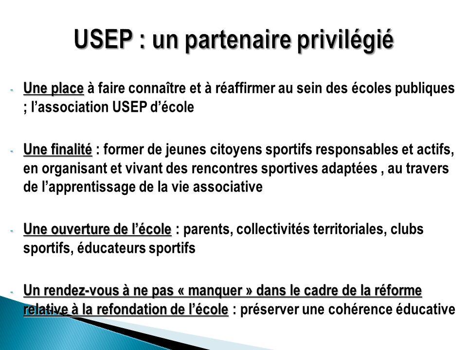 - Une place - Une place à faire connaître et à réaffirmer au sein des écoles publiques ; lassociation USEP décole - Une finalité - Une finalité : form