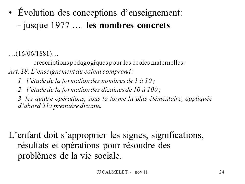 JJ CALMELET - nov 1124 Évolution des conceptions denseignement: - jusque 1977 … les nombres concrets …(16/06/1881)… prescriptions pédagogiques pour le