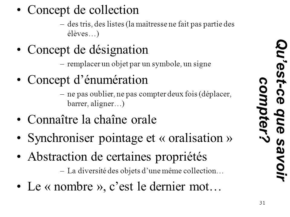 Concept de collection –des tris, des listes (la maîtresse ne fait pas partie des élèves…) Concept de désignation –remplacer un objet par un symbole, u