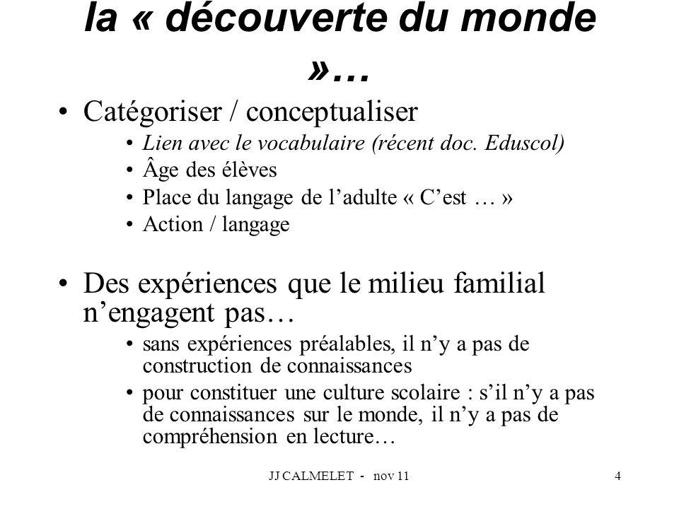 JJ CALMELET - nov 114 Catégoriser / conceptualiser Lien avec le vocabulaire (récent doc. Eduscol) Âge des élèves Place du langage de ladulte « Cest …