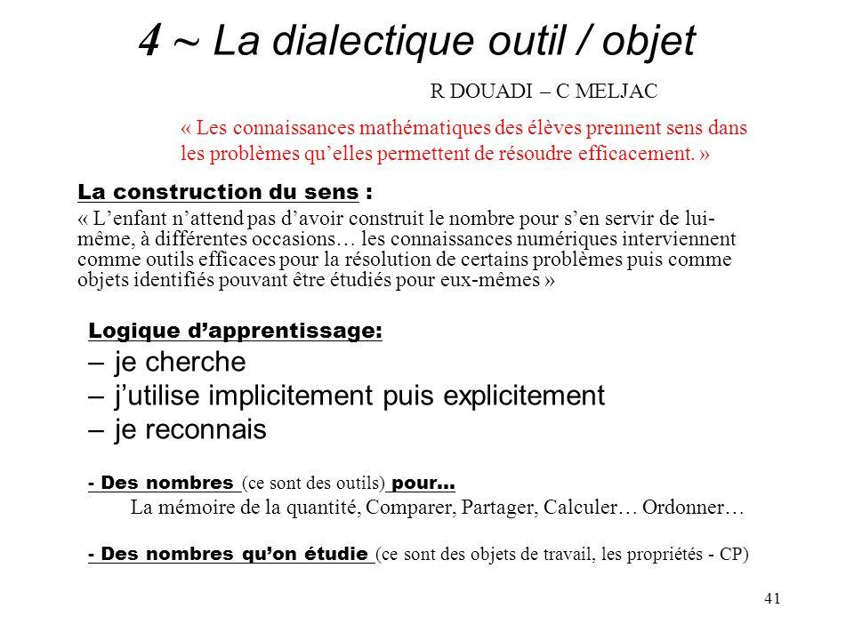 41 4 ~ La dialectique outil / objet R DOUADI – C MELJAC La construction du sens : « Lenfant nattend pas davoir construit le nombre pour sen servir de
