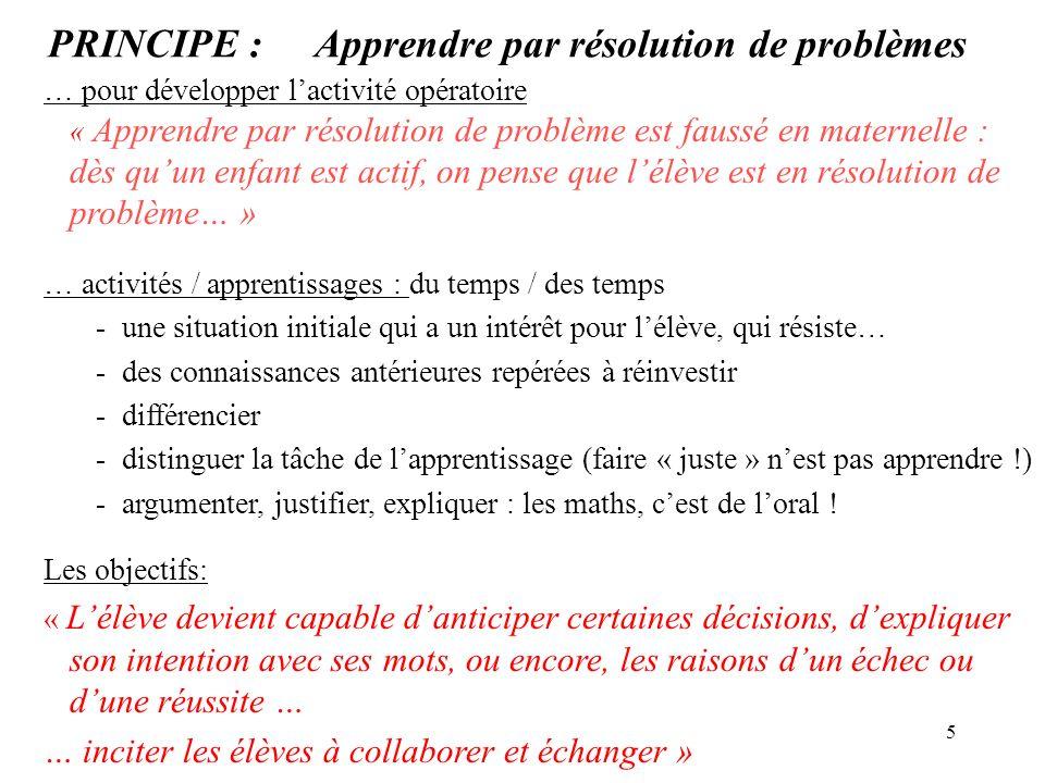 5 PRINCIPE : Apprendre par résolution de problèmes … pour développer lactivité opératoire « Apprendre par résolution de problème est faussé en materne