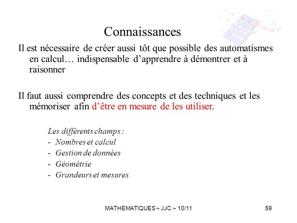MATHEMATIQUES ~ JJC ~ 10/1159 Il est nécessaire de créer aussi tôt que possible des automatismes en calcul… indispensable dapprendre à démontrer et à