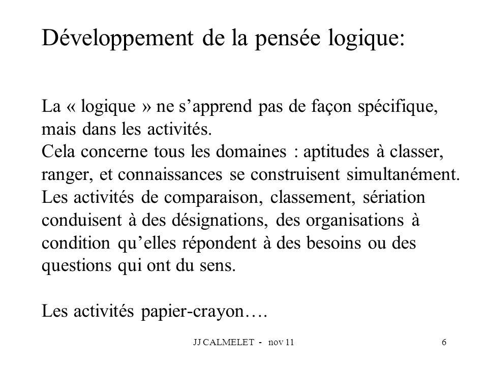 JJ CALMELET - nov 116 Développement de la pensée logique: La « logique » ne sapprend pas de façon spécifique, mais dans les activités. Cela concerne t
