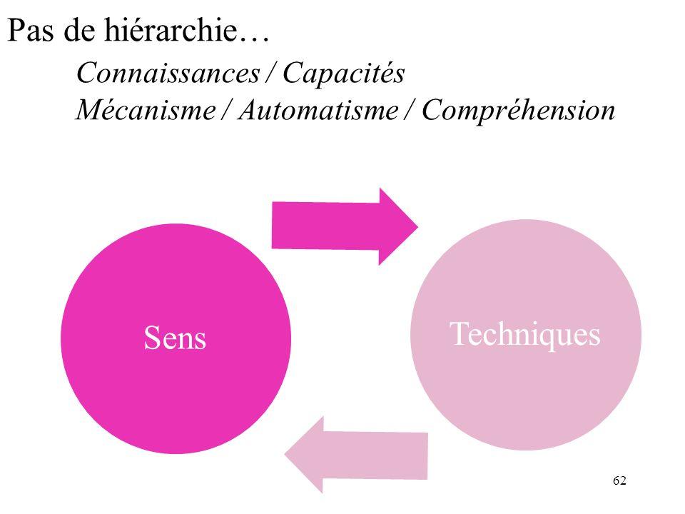 Pas de hiérarchie… Connaissances / Capacités Mécanisme / Automatisme / Compréhension SensTechniques 62