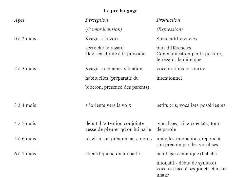 Le pré langage Ages PerceptionProduction (Compréhension)(Expression) 0 à 2 mois Réagit à la voixSons indifférenciés accroche le regard puis différenci