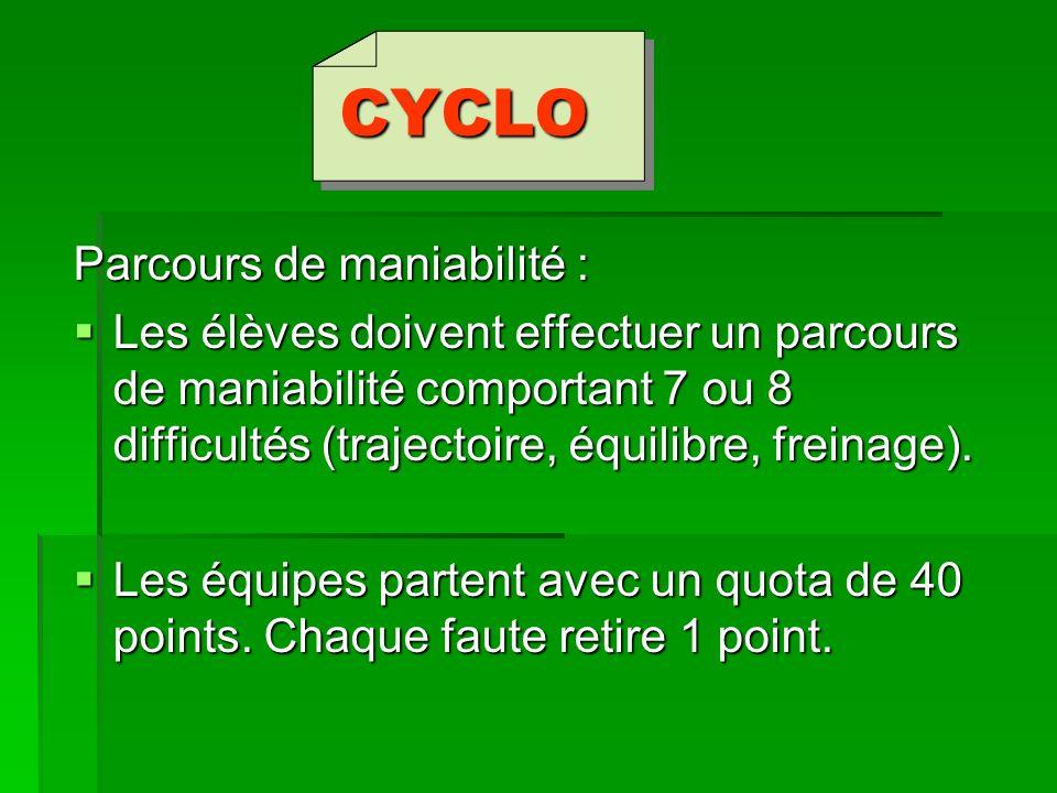 CYCLO Parcours de maniabilité : Les élèves doivent effectuer un parcours de maniabilité comportant 7 ou 8 difficultés (trajectoire, équilibre, freinag