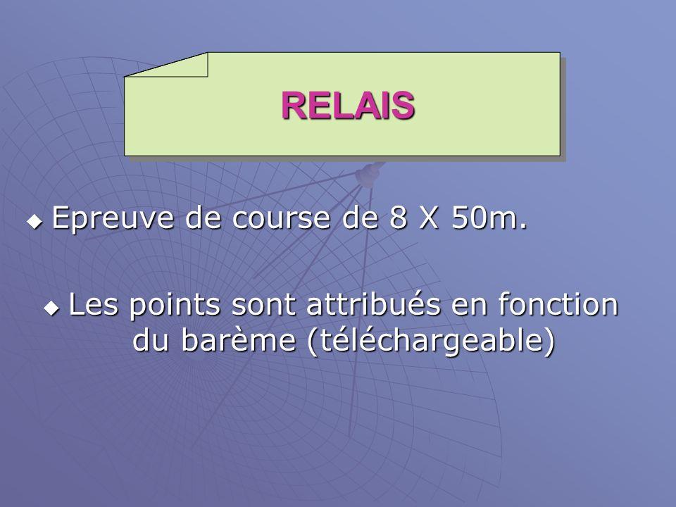 RELAIS Epreuve de course de 8 X 50m. Epreuve de course de 8 X 50m. Les points sont attribués en fonction du barème (téléchargeable) Les points sont at