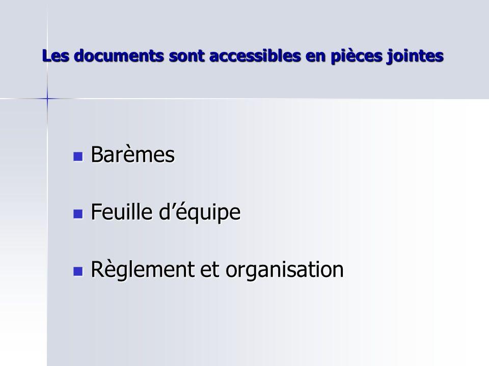 Les documents sont accessibles en pièces jointes Barèmes Barèmes Feuille déquipe Feuille déquipe Règlement et organisation Règlement et organisation