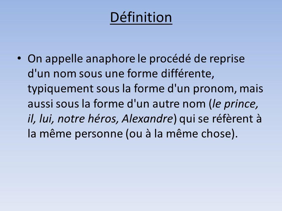 Définition On appelle anaphore le procédé de reprise d'un nom sous une forme différente, typiquement sous la forme d'un pronom, mais aussi sous la for